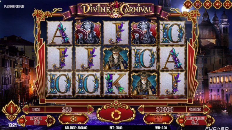 Play slots at Napoli: Napoli featuring the Video Slots Divine Carnival with a maximum payout of $312,500