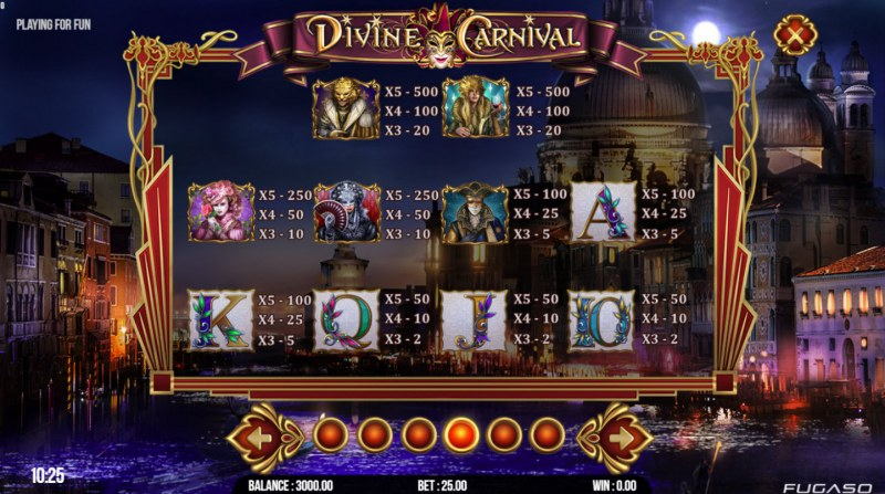 Divine Carnival :: Paytable