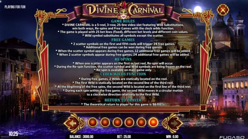 Divine Carnival :: General Game Rules