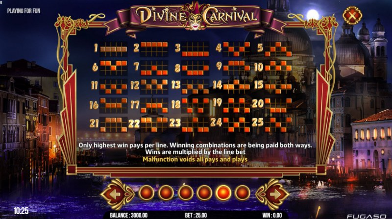 Divine Carnival :: Paylines 1-25