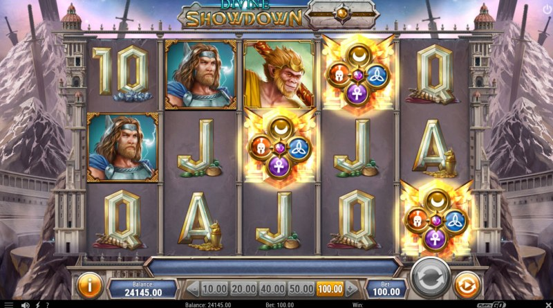 Divine Showdown :: Scatter symbols triggers the free spins feature