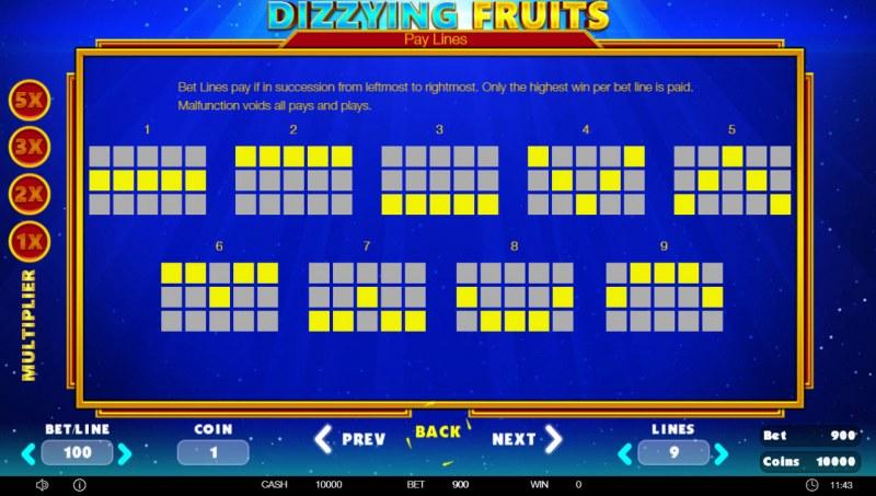 Dizzying Fruits :: Paylines 1-9