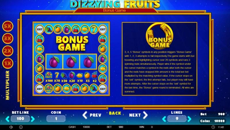 Dizzying Fruits :: Bonus Game Rules