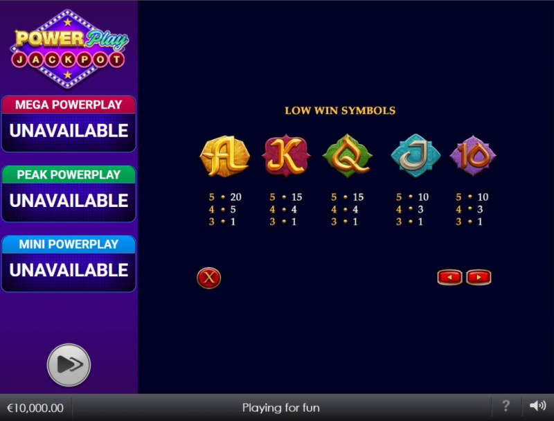 Djinn of Storms Power Play Jackpot :: Paytable - Low Value Symbols
