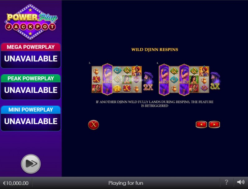 Djinn of Storms Power Play Jackpot :: Feature Rules
