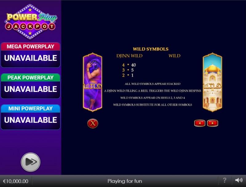 Djinn of Storms Power Play Jackpot :: Wild Symbol Rules