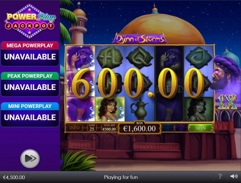 Djinn of Storms Power Play Jackpot :: Multiple winning paylines