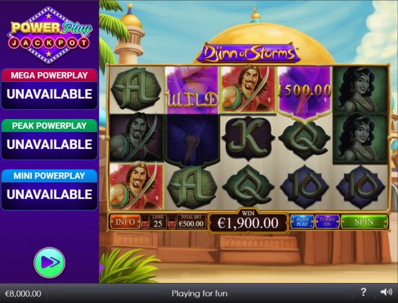 Djinn of Storms Power Play Jackpot :: A four of a kind win