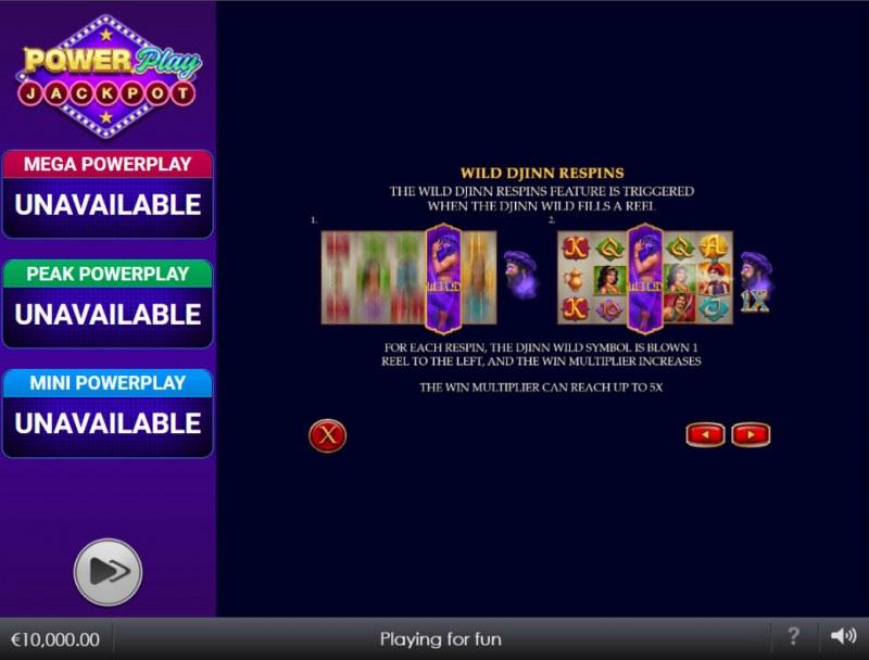 Djinn of Storms Power Play Jackpot :: WIld Djinn Respins