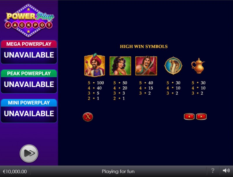Djinn of Storms Power Play Jackpot :: Paytable - High Value Symbols