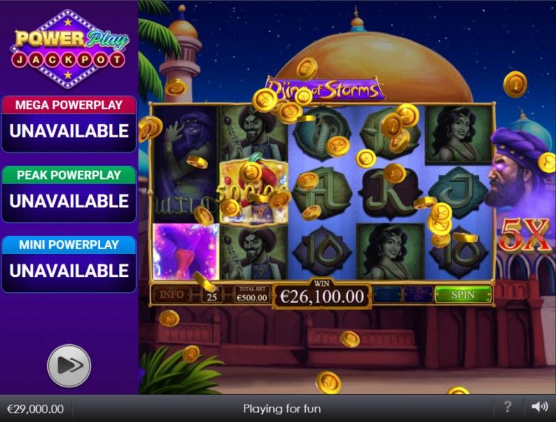 Djinn of Storms Power Play Jackpot :: Multiple winning combinations lead to a big win