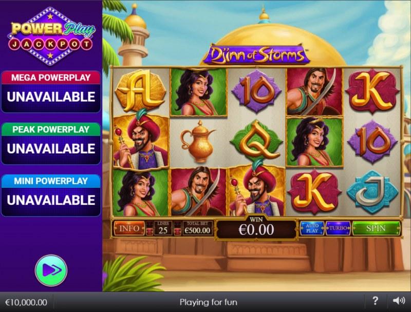 Djinn of Storms Power Play Jackpot :: Main Game Board