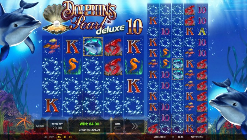 Dolphin's Pearl Deluxe 10 :: Winning symbols are removed from the reels and new symbols drop in place