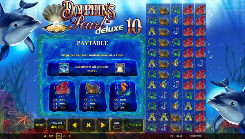 Dolphin's Pearl Deluxe 10 :: Paytable - High Value Symbols