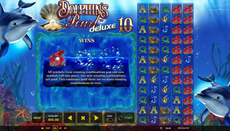 Dolphin's Pearl Deluxe 10 :: Cascading Win Feature
