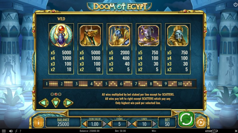 Doom of Egypt :: Paytable - High Value Symbols