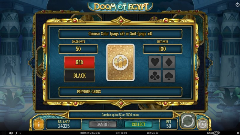 Doom of Egypt :: Gamble Feature Game Board