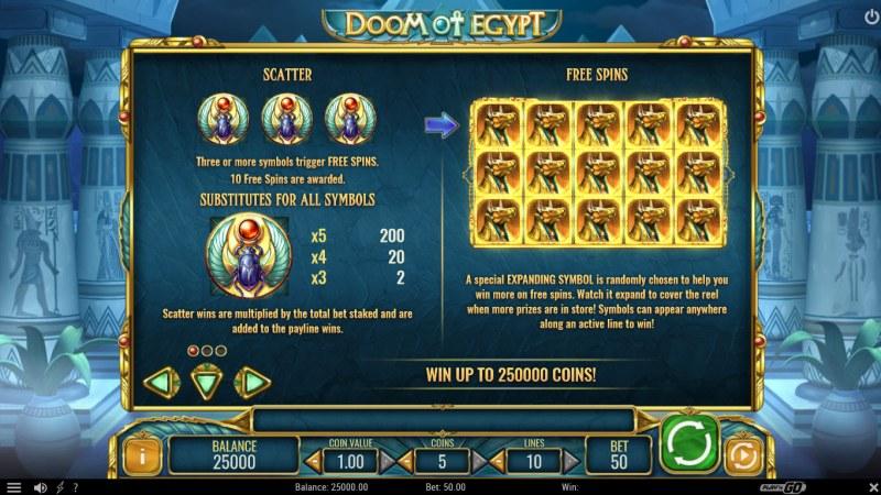 Doom of Egypt :: Scatter Symbol Rules