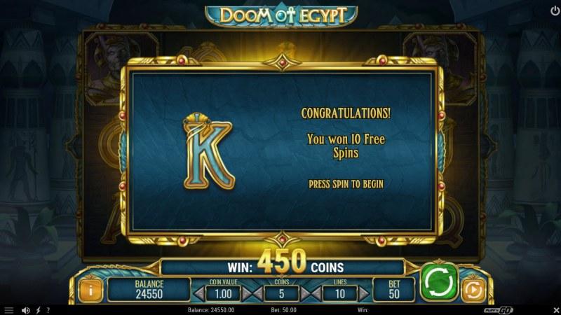 Doom of Egypt :: 10 Free Spins Awarded