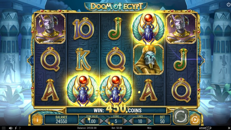 Play slots at Instacasino: Instacasino featuring the Video Slots Doom of Egypt with a maximum payout of $500,000