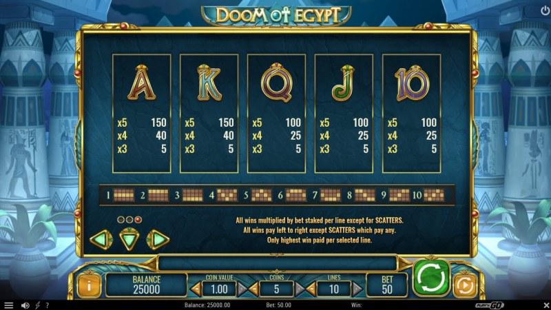 Doom of Egypt :: Paytable - Low Value Symbols