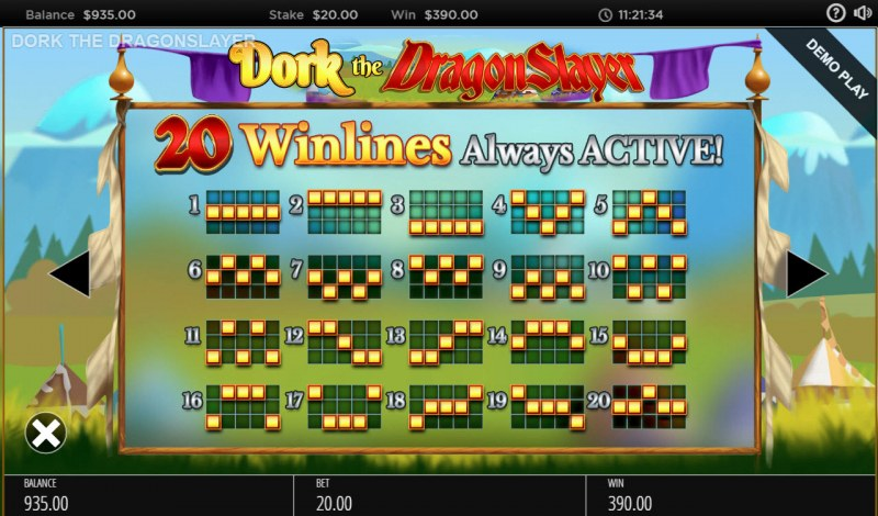 Dork the Dragon Slayer :: Paylines 1-20