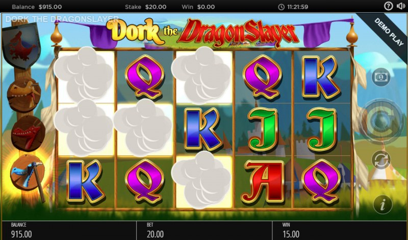 Dork the Dragon Slayer :: Winning symbols are removed from the reels and new symbols drop in place