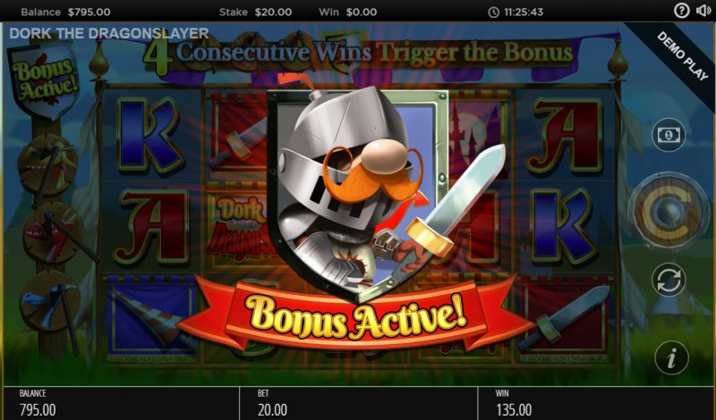 Dork the Dragon Slayer :: Four or more consecutive cascade wins triggers the free spins feature
