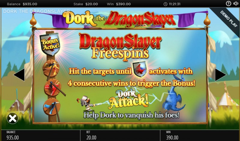Dork the Dragon Slayer :: Free Spins Rules