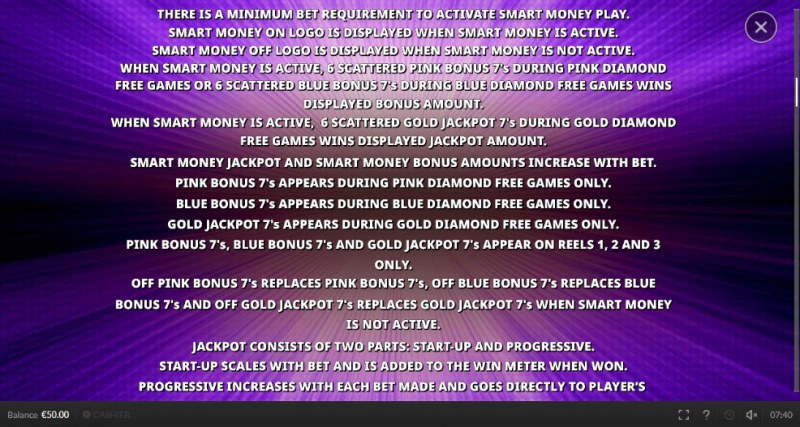 Double Scatter 7's :: Smart Money Jackpot Feature Rules
