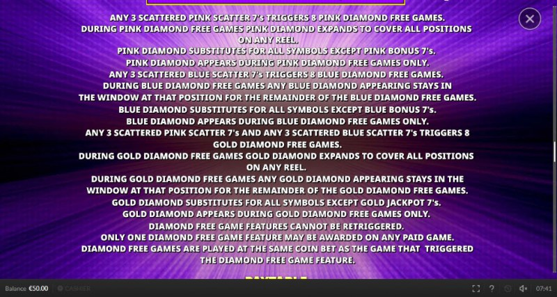 Double Scatter 7's :: Diamond Free Game Feature Rules