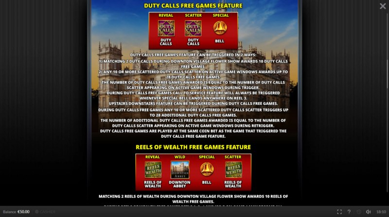 Downtown Abbey :: Free Spins Rules