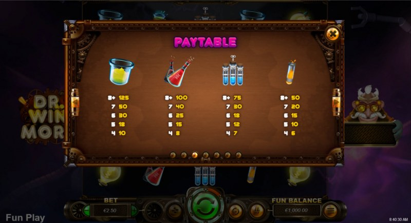Dr. Winmore :: Paytable - Low Value Symbols