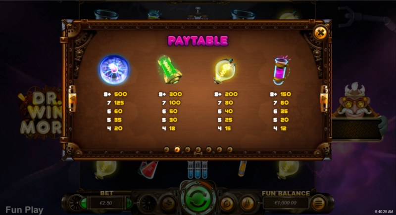 Dr. Winmore :: Paytable - High Value Symbols
