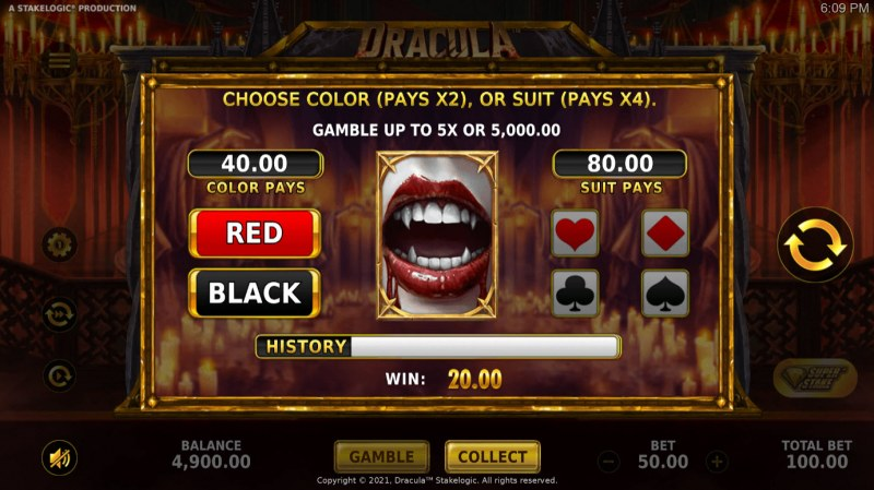 Dracula :: Gamble feature is available after every win
