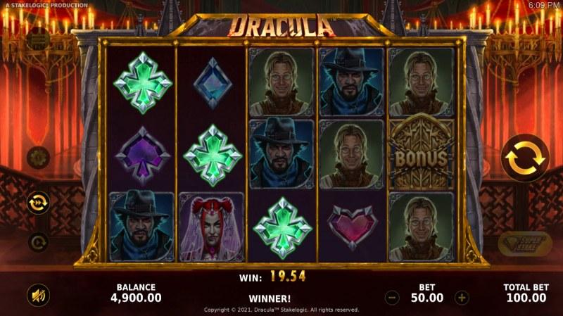 Dracula :: A three of a kind win