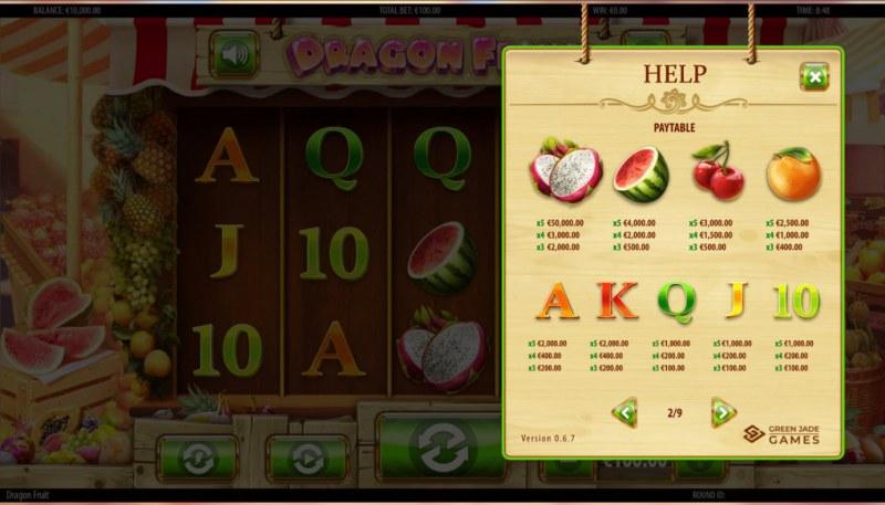 Dragon Fruit :: Paytable