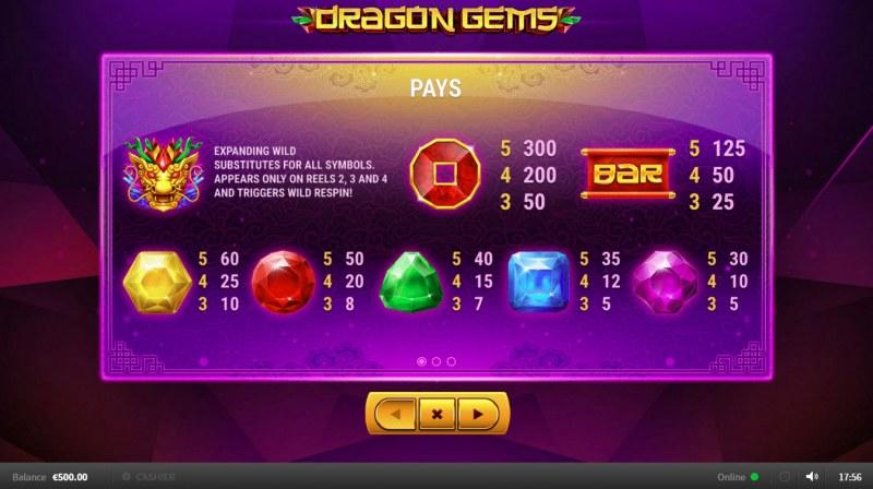 Dragon Gems :: Paytable
