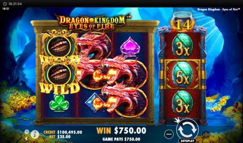 Dragon Kingdom Eyes of Fire :: 5x multiplier applied to win