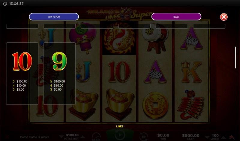 Dragon Lines Super :: Paytable - Low Value Symbols