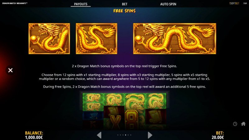 Dragon Match Megaways :: Free Spins Rules