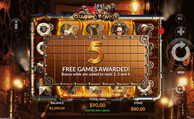 Dragon Myst :: 5 free spins awarded