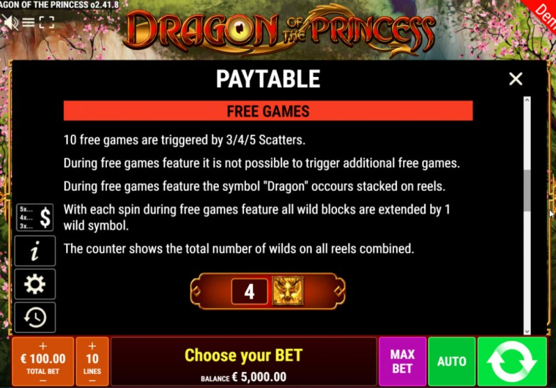 Dragon of the Princess :: Free Spins Rules