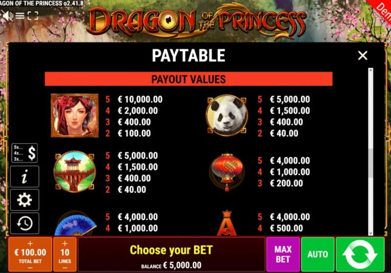 Dragon of the Princess :: Paytable - High Value Symbols