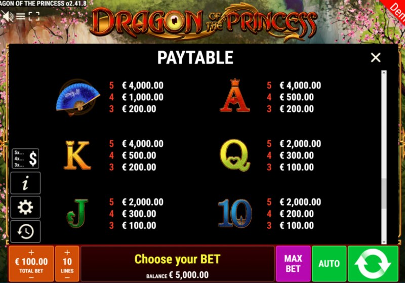 Dragon of the Princess :: Paytable - Low Value Symbols