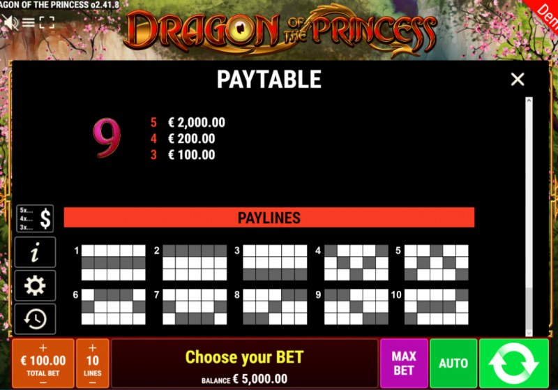 Dragon of the Princess :: Paylines 1-10