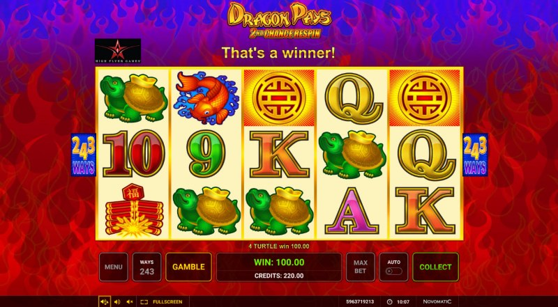 Dragon Pays :: A four of a kind win
