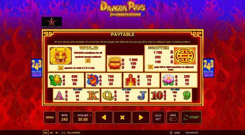Dragon Pays :: Paytable