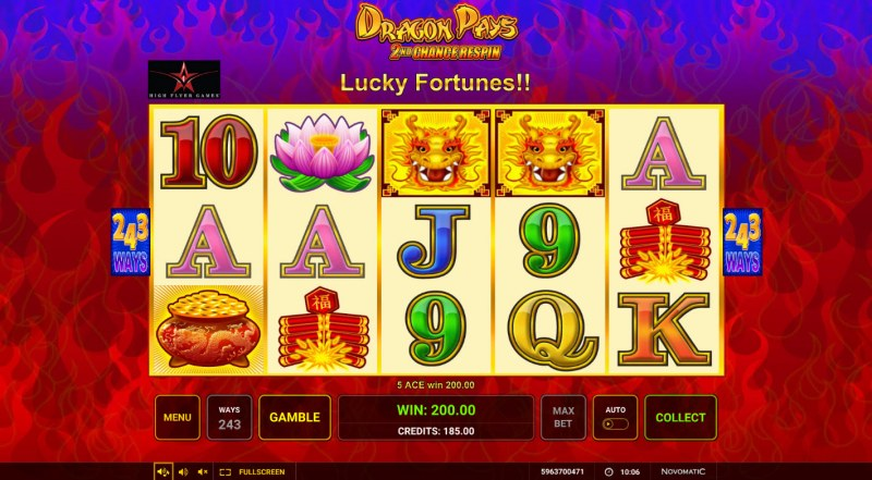 Dragon Pays :: A five of a kind win