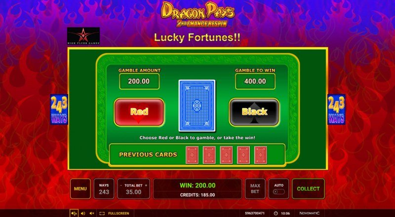 Dragon Pays :: Red or Black Gamble Feature